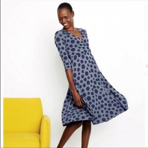 Boden | Blue Polka Dot Faux Wrap Midi Dress
